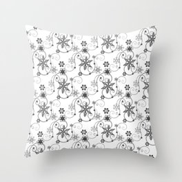 Snowflakes (Black) Throw Pillow