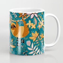 Happy Boho Sloth Floral Coffee Mug