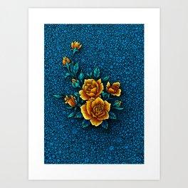 Mama's Garden - Blue Art Print