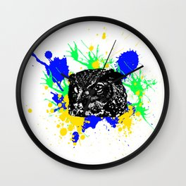 Owl Colors Explosion Wall Clock