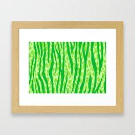 Lime Green Leopard Stripes Pattern Framed Art Print
