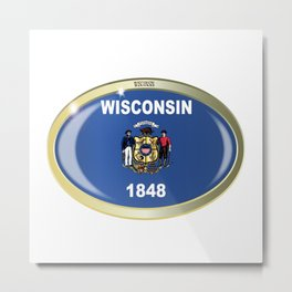 Wisconsin State Flag Oval Button Metal Print