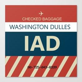 Washington Dulles Airport (IAD) Baggage Tag Canvas Print