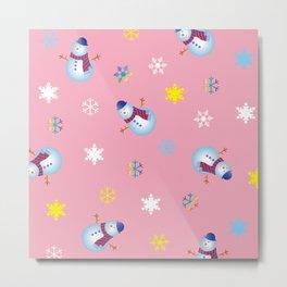 Snowflakes & Snowman_B Metal Print
