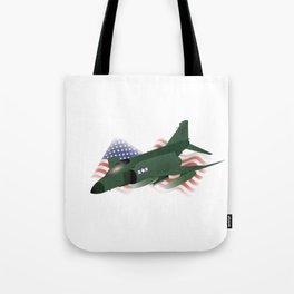 F-4 Phantom Jet Interceptor with US Flag Tote Bag