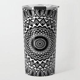 Detailed Black and White Mandala Travel Mug
