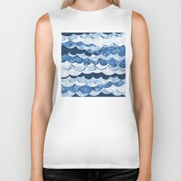 Abstract Blue Sea Waves Design Biker Tank
