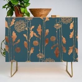 Art Deco Copper Flowers  Credenza
