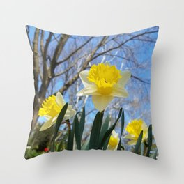 Daffodils in the sky Throw Pillow
