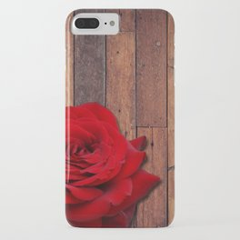 Red Rose & Wooden Background iPhone Case