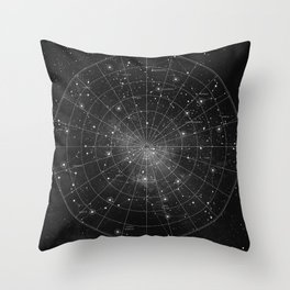 Constellation Star Map (B&W) Throw Pillow