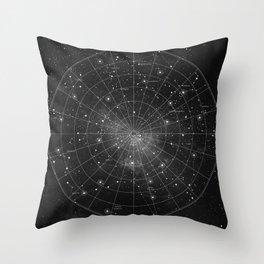 Constellation Star Map (B&W) Throw Pillow