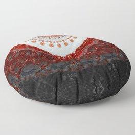 Ethnic Red Black Floral Mandala Floor Pillow