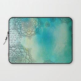 MANDALA COLLAGE ON Aqua Watercolor Laptop Sleeve