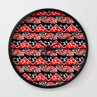 maori Wall Clocks featuring Kowhaiwhai Traditional Maori Koru Pattern by mailboxdisco