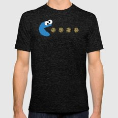 Cookie monster Pacman Tri-Black Mens Fitted Tee MEDIUM