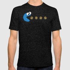 Cookie monster Pacman Tri-Black Mens Fitted Tee MEDIUM