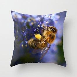 Honeybee on the California Lilac Throw Pillow