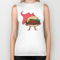 heroes Biker Tanks featuring Hamburger Heroes by Chris Piascik
