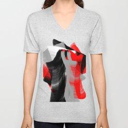 dancing abstract red white black grey digital art Unisex V-Neck