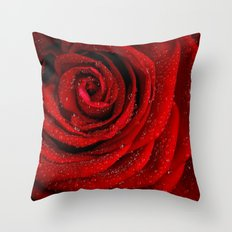 Red rose with sparkling droplets- Beautiful elegant Roses Throw Pillow