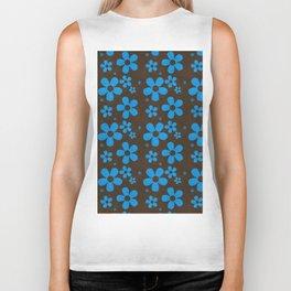 Blue Flowers on Brown Background Biker Tank