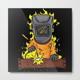 Cartoon Welder Who Is On Fire Metal Print