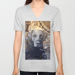 Rudy ... Original Abstract dog art painting, Black Labrador Unisex V-Neck