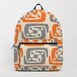 Mid Century Modern Galaxy Pattern 131 Orange and Gray Backpack