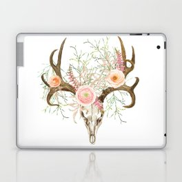 Bohemian deer skull and antlers with flowers Laptop & iPad Skin