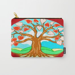 Heart Tree of Life Mandala Red Carry-All Pouch