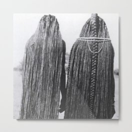 Woman of the Mbalantu African Tribe and Their Traditional Floor-Length Natural Braided Hair black and white photograph Metal Print