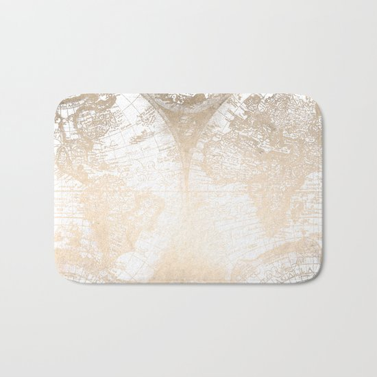 Antique White Gold World Map Bath Mat