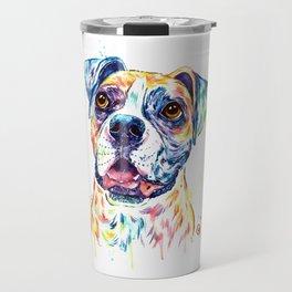 Boxer Colorful Watercolor Pet Portrait Painting Travel Mug