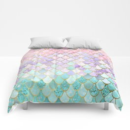 Iridescent Mermaid Pastel and Gold Comforters