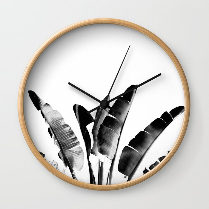 Traveler palm - bw Wall Clock