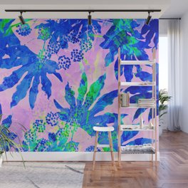 Tropical Adventure - Neon Blue, Pink and Green #tropical #homedecor Wall Mural
