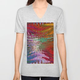 Mesmerizing Warm Tone Abstract Landscape Unisex V-Neck