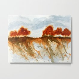 Firebranch Ridge, Watercolor Abstract Landscape Art Metal Print