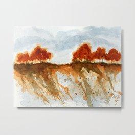 Firebranch Ridge, Watercolor Abstract Landscape Art Metal Print