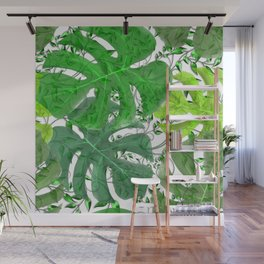 PALM LEAF B0UNTY GREEN AND WHITE Wall Mural