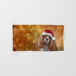 Drawing Dog breed Cavalier King Charles Spaniel  in red hat of Santa Claus Hand & Bath Towel