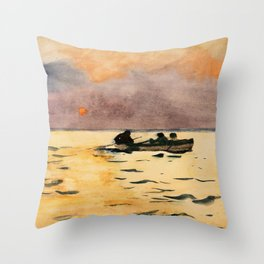 Winslow Homer1 - Rowing Home - Digital Remastered Edition Throw Pillow
