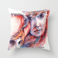 Fire and Ice ... Mask Throw Pillow