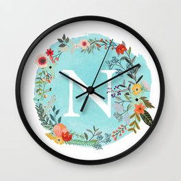 Personalized Monogram Initial Letter N Blue Watercolor Flower Wreath Artwork Wall Clock