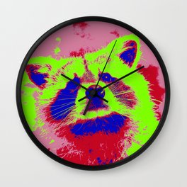 Pop Art Raccoon Wall Clock