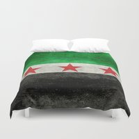 "islam Duvet Covers featuring The Syrian ""independence flag""  retro style version by Bruce Stanfield"