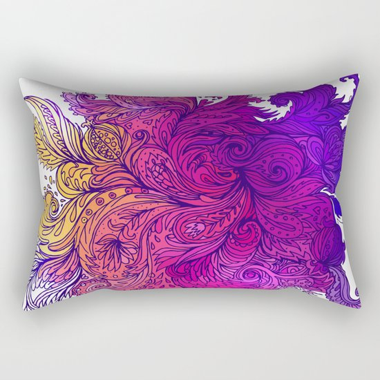 Purple Floral Indian Pattern Rectangular Pillow