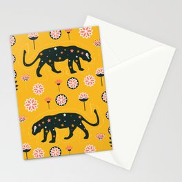 Fantastic jaguars and flowers Stationery Cards