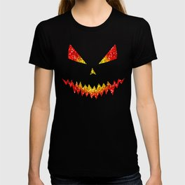 Sparkly Jack O'Lantern face Halloween pattern T-shirt